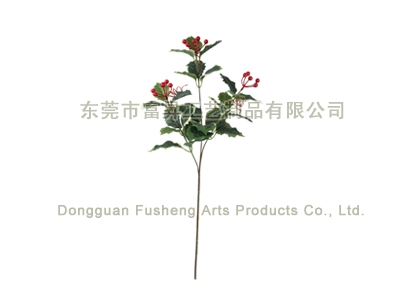 【F4678/3】Holly Leaf & Berry x 3Artificial Flowers