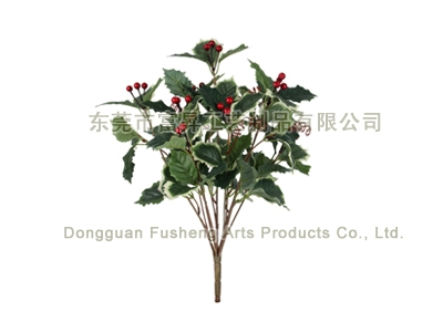 【F4680/7】Holly Leaf & Berry x 7Artificial Flowers