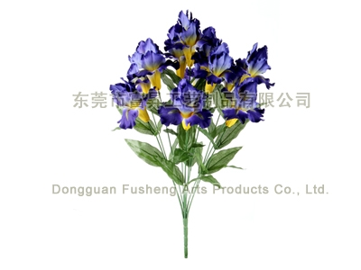 【F5933/12】Iris Bush x 12Artificial Flowers